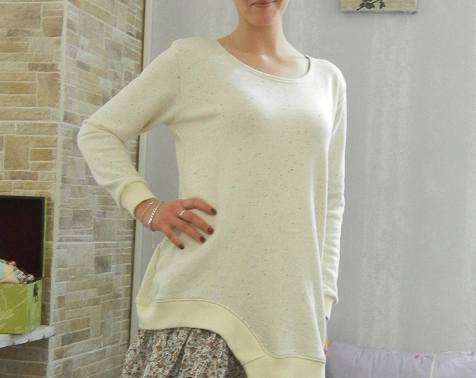 Mori girl Designer' Frill tunic / Beige Floral frill Original tunic / Comfi tunic