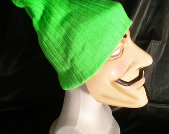 Bright Neon Green Cable Knit Beanie Cap