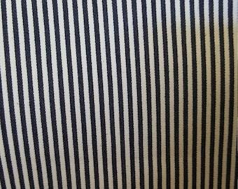 Style#1001 Denim Railroad Vertical Stripe fabric, Stretch Denim fabric, sold by the 1/2 yds .