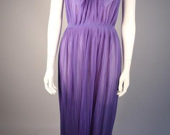 Purple 1970s Dress with Pleated Collar
