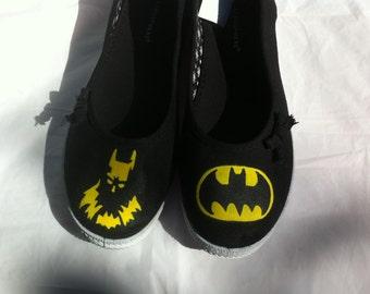 Handpainted Batman graphic women's shoes (Size 7)