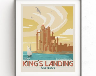 Kings landing travel poster. Game of Thrones illustration. Vintage downloadable print. Fantasy world travel poster. GOT minimalist. Westeros