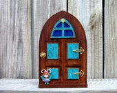 Wooden Fairy Door, Turquoise, Stained, Rustic, Painted, Fairy, Magic Portal, Gift for Girls