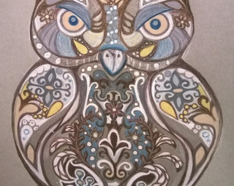 Gold, Brown, and Grey Owl Print