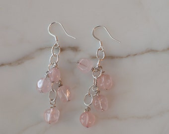 Rounded Rose Quartz Dangle Earrings on Silver-Plated Chain