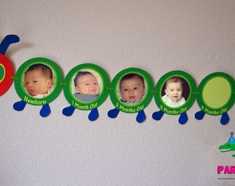 Caterpillar First Year Photo Banner / 12 Month Banner / First Birthday Party Printable - FILE to PRINT