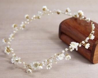 Bridal flower hair vines, Handmade flower vines, Bridal hair accessories, Hair vine tiaras, real flower hair vine