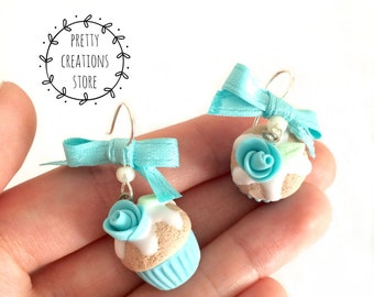 Tiffany colored cupcakes earrings