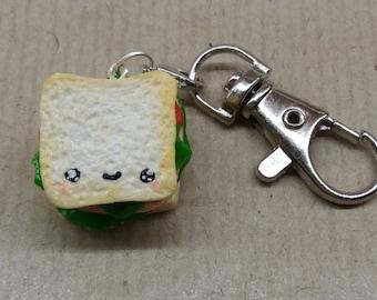 Cheese and ham salad sandwich, Kawaii, Polymer clay, charm, necklace, bracelet, key ring.