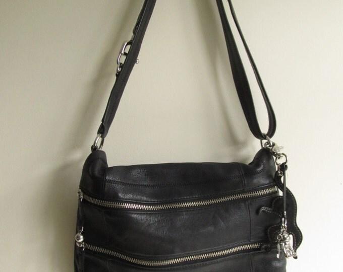 Leather Kipling crossbody handbag shoulderbag, black ladies purse, overnight bag, lightweight travel supplies