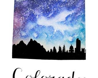 """Colorado Galaxy in Watercolor- 9"""" x 12"""" Print"""
