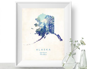 Alaska | State Tree Map Art, State Map Print, Map Poster, Wall Art, Art Print  | Home or Office Decor, Gift for Nature Lover