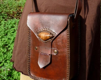 vegetable tanned leather bag - wood oak Cork PROMOTION from 110 to 90 pounds