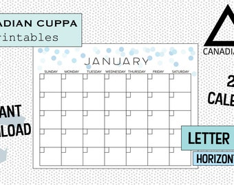 Printable PDF Blank Calendar- 12 months - Sunday to Saturday- Blue Confetti