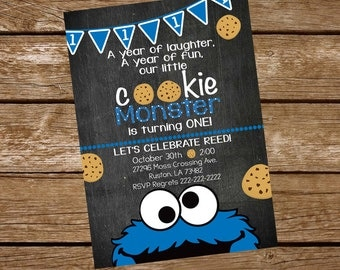 Cookie Monster Birthday Invite, Cookie Monster Invitation, Cookie Monster First Birthday Invitation, Cookie Monster is turning one invite