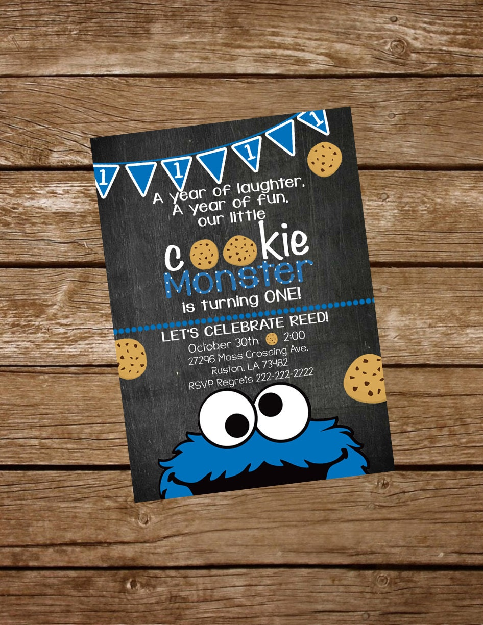 Cookie Monster Birthday Invite Cookie Monster Invitation