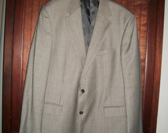 Vintage Men's Brooks Brothers Taupe Tattersall Suit Coat/Jacket 44L