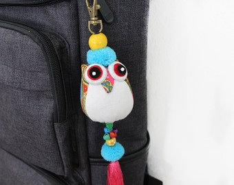 Bag Decoration Owl Keychain With Silk Tassel Hill Tribe Thailand
