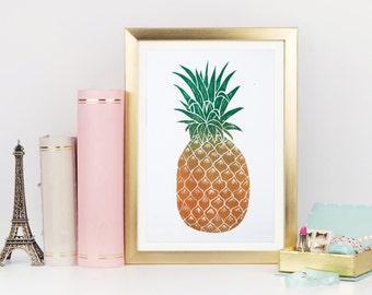 Pineapple print, pineapple linocut, wall art, pineapple poster, tropical wall art, small print, pineapple art, pineapple, little print