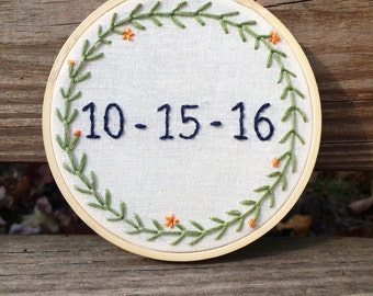 Custom Wedding / Anniversary / Wedding Date Embroidery Hoop Wall Art Decor