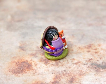 Japanese Girl with Cat Miniature Polymer Clay Pair Polymer Clay Miniatures Japan Style Miniature Role Playing Miniatures