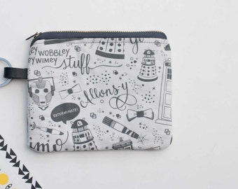 Coin purse Doctor Who -  zipper pouch - coin purse - Doctor Who- card wallet change pouch - Allonsy - women accessories