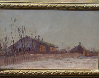 """Antique Russian  Oil Painting Original N.Dubovskoy """"Country House"""" Signed"""