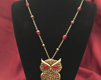 Red and Gold Owl Necklace and Earrings Set