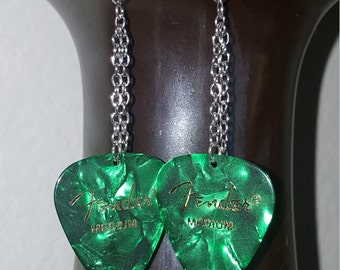 Emerald Green Pearl Guitar Pick Earrings
