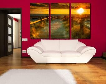 Large Wall Sunset Seaside Canvas Color Great View Seaside Multipanel Canvas Bridge Art Large Ocean 1-3-4-5 Panel Bridge Paint