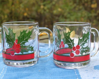 6 Vintage 1980s Christmas Holiday Libbey Glass Holly Berry Mugs or Glasses
