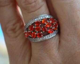 Orange Quartz Gemstone Ring surrounded by CZ's-Size 7!