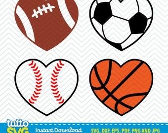 Sport Ball Heart  SVG files, Silhouette Studio, Cricut, Cameo, Embroidery, Screen Printing TT-21