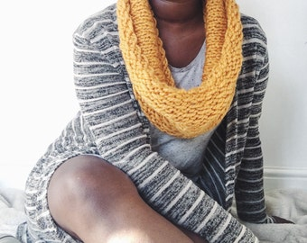 Snooge-Snood, Chunky Knitted Cowl, Yellow Scarf, Mustard Snood, Bright Coloured Scarf, Super Chunky Knit Wool Snood, Handmade Scarf