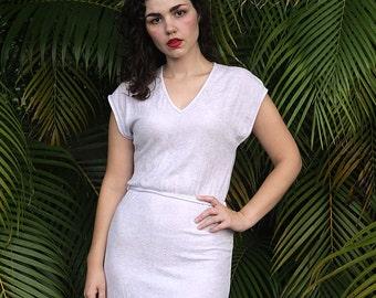 Terrycloth Tie Waist Lavender Midi Dress