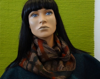 Infinity brown silk scarf