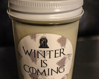 Winter Is Coming Game Of Thrones Inspired 100% Soy Candle
