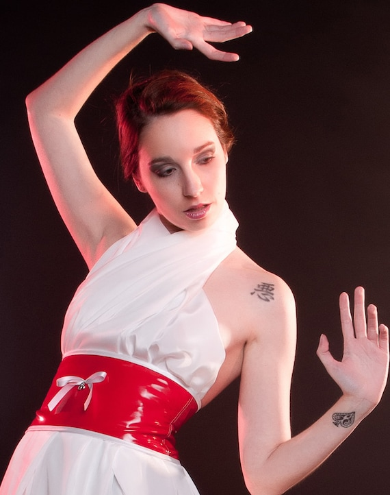 Red and white cincher Style Vinyl Cherry Sample sale Obi belt fetish pinup Pvc sash Retro corselet with white bow and cherries charm