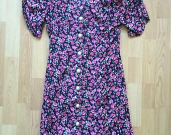 SALE / Vintage Pink Black Floral Dress / Size SM/M