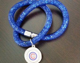 Chicago Cubs crystal bracelet with magnetic clasp
