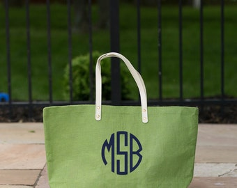 Monogrammed Jute Tote..Personalized Summer Tote..Customized Beach Bag..Lightweight Tote Bag