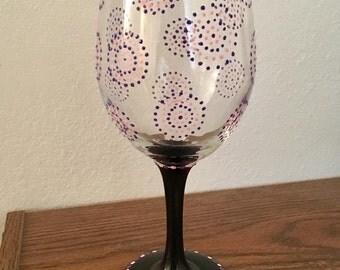 Polka Dot Circles Wine Glass