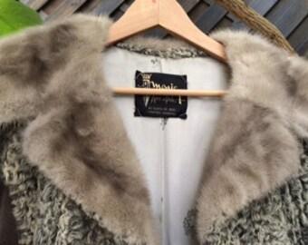 Coat in grey Astrakhan, gray mink collar.
