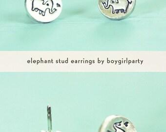 Silver ELEPHANT EARRINGS for sensitive ears - Tiny Stud Earrings, tiny silver studs - Elephant Stud Earrings - sterling silver earrings