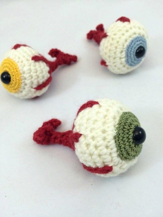 Sage Green Crochet Eyeball Amigurmi Plush Ornament or Keychain