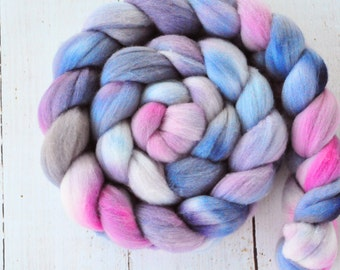 Hand Dyed Merino Top Wool Roving - Hand Painted - Spinning - Felting - Wisteria - 4.2 Ounces