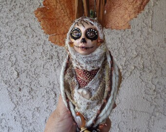 Dia de los muertos. Sugar Skull, Equinox Moon, Kitchen Witch, Cottage Art Doll, Assemblage  OOAK,