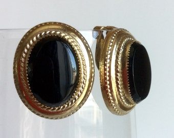 Vintage Black and Gold Earrings by Whiting and Davis - Glossy Onyx Black Ovals in Bright Shiny Gold Settings - Simple Classic Clip On Signed