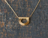 Golden Sun Necklace, Layering Jewelry, Gold Filled Necklace, Simple Everyday Necklace, Gold Vermeil Open Circle, Dainty Charm Necklace