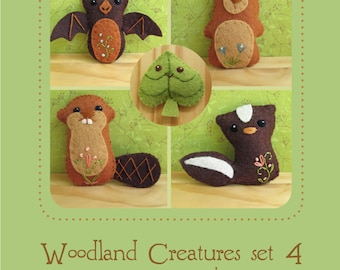 Mini Felt Woodland Creatures plush Set 4 PDF sewing pattern felt animal patterns ornaments